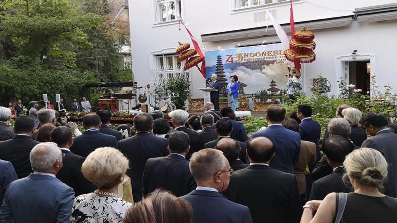 Resepsi Diplomatik di Wisma Duta Besar RI di Wina pekan lalu, bagian dari rangkaian peringatan HUT Kemerdekaan ke-74 Republik Indonesia. - Dok. BRI Wina