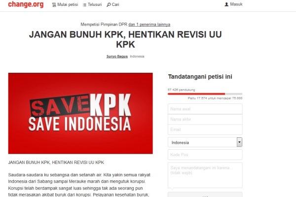 Petisi Jangan Bunuh KPK, Hentikan Revisi UU KPK - change.org