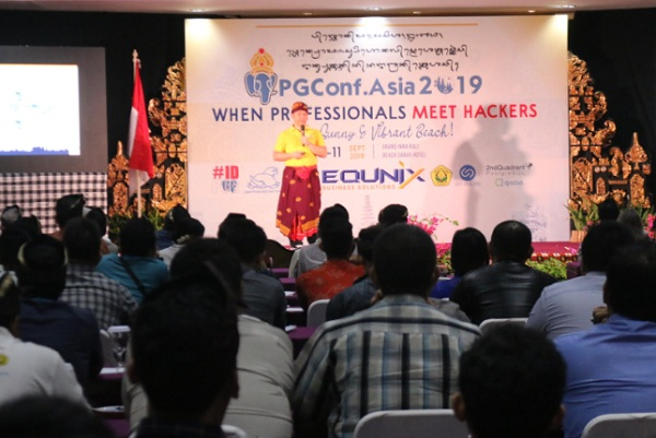 Kegiatan konferensi tingkat dunia tentang seluruh aspek software database Open Source PostgreSQL, yang digelar di Denpasar Bali Senin, (9/9/2019). - Bisnis/Sultan Anshori