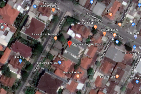 Lokasi asrama mahasiswa Papua di Jl. Kalasan Surabaya berdasarkan Google Maps