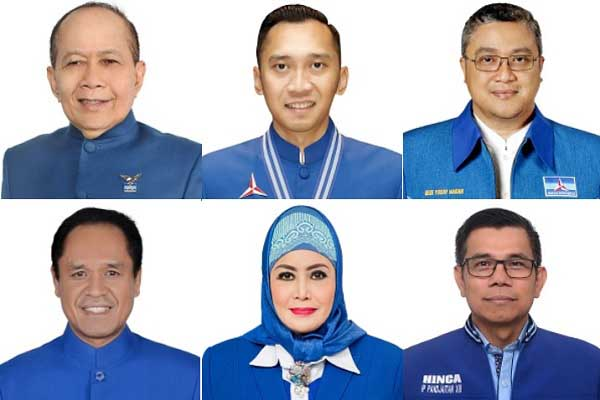 (Dari kiri-kanan searah putaran jarum jam) Sjarifuddin Hasan, Edhie Baskoro Yudhoyono, Dede Yusuf, Hinca Pandjaitan, Melani Leimena Suharli, Benny Kabur Harman.-/Bisnis.com - KPU