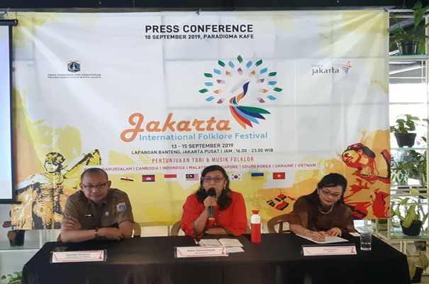 Konferensi pers Jakarta International Folklore Festival 2019 di Jakarta, Selasa (10/9/2019) - Bisnis/Syaiful M