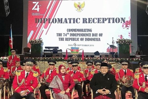 Duta Besar Indonesia di Azerbaijan Husnan Bey Fananie saat menggelar Resepsi Diplomatik di Baku, Azerbaijan