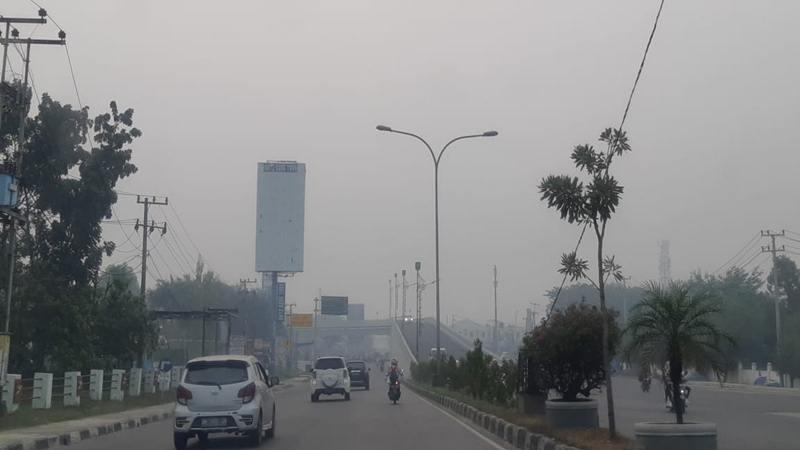 Kabut asap akibat kebakaran hutan dan lahan semakin berdampak buruk pada kualitas udara dan jarak pandang di Pekanbaru, Provinsi Riau. Pada Selasa (10/9/2019) pagi, sejumlah bangunan seperti Stadion Utama Pekanbaru di Jalan Naga Sakti Kecamatan Tampan, dan juga flyover di Jalan Soekarno Hatta dan Jalan Soebrantas, seolah 'hilang' akibat ditelan kabut asap. JIBI/Bisnis - Arif Gunawan