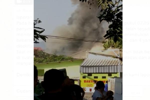 Foto tangkap layar video gudang penyimpanan bahan peledak Mako Brimob Srondol di Jateng meledak, Sabtu (14/9/2019) pagi. - Istimewa