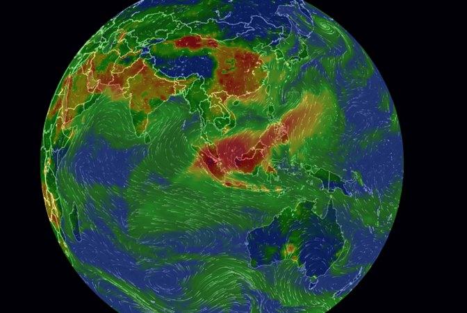 Visualisasi kualitas udara berdasarkan data AirVisual, Rabu (18/9/2019). - Repro