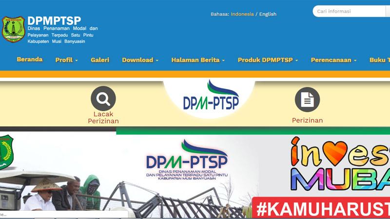 Layanan perizinan investasi secara online Kabupaten Musi Banyuasin. Foto: dpmptsp.mubakab.go.id