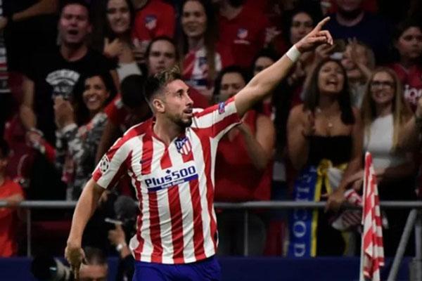 Pemain Atletico Madrid Hector Herrera setelah menjebol gawang Juventus. - Antara-AFP