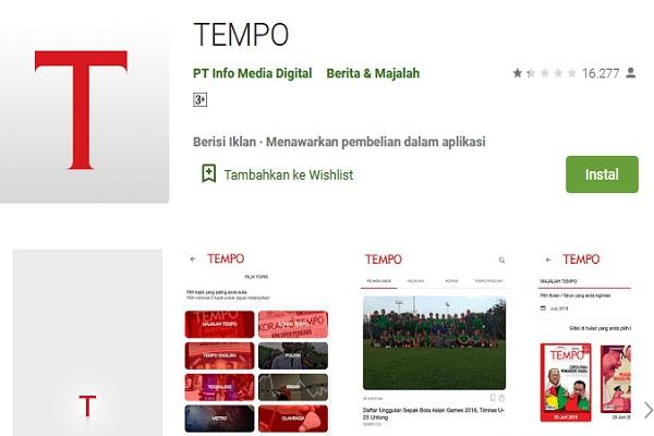 Aplikasi Tempo di Google Play Store - Istimewa
