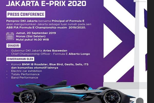 Menyambut Formula E 2020 di Jakarta, Pemerintah Provinsi DKI Jakarta melalui Dinas Perhubungan Provinsi DKI Jakarta akan melaksanakan kegiatan Konvoi Kendaraan Listrik pada Jumat (20/9/2019) pukul 15.00 WIB sampai 17.00 WIB. - Istimewa