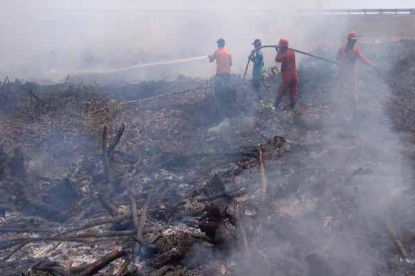 Personil gabungan satgas penanganan karhutla memadamkan api di areal dekat PT DGS, Desa Penyandingan, Kecamatan Tulung Selapan, Kabupaten OKI - Istimewa