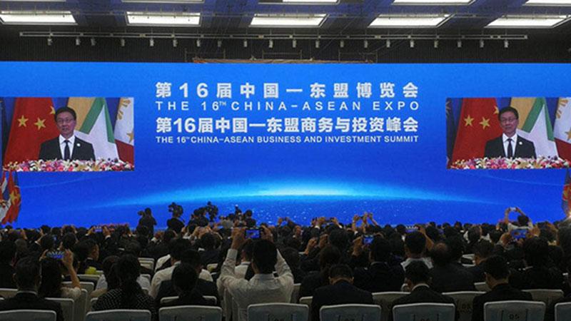 Wakil PM China Han Zheng menyampaikan sambutan dalam pembukaan The 16th China-ASEAN Expo (CAEXPO) dan The 16th China-ASEAN Business and Investment Summit (CABIS) 2019 di Nanning, China, Sabtu (21/9). - Bisnis.com/Gajah Kusumo