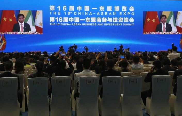 Chairman & CEO Xiaomi Lei Jun saat memberikan sambutan dalam pembukaan The 16th China-ASEAN Expo (CAEXPO) dan The 16th China-ASEAN Business and Investment Summit (CABIS), Sabtu (21/9/2019). - Bisnis/Gajah Kusumo