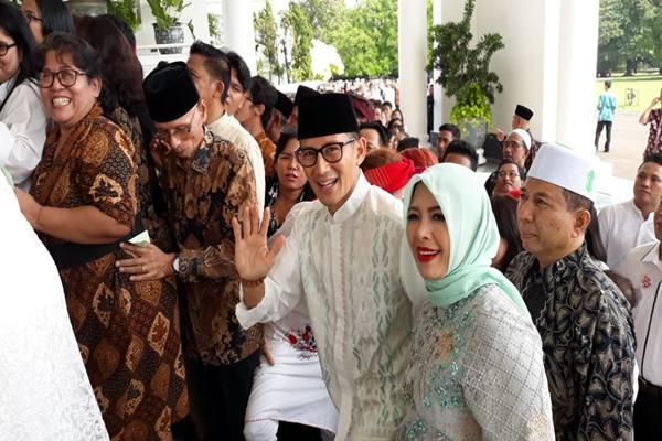 Wakil Gubernur DKI Jakarta Sandiaga Uno dan istri menghadiri halalbihalal di Istana Bogor.-JIBI - David Eka Issetiabudi