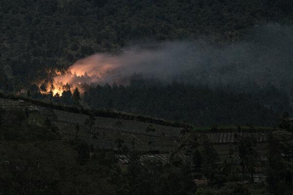 Kobaran api yang membakar hutan pinus di lereng bagian timur Gunung Slamet pada petak 58a, terlihat dari Desa Serang, Karang Reja, Purbalingga, Jateng, Kamis (12/9/2019). Kobaran api semakin meluas karena upaya pemadaman yang masih terus dilakukan oleh seratusan personel gabungan dari SAR, Polisi dan warga, terkendala medan yang sulit dan tidak tersedianya pasokan air serta peralatan untuk melakukan pemadaman. - Antara/Idhad Zakaria