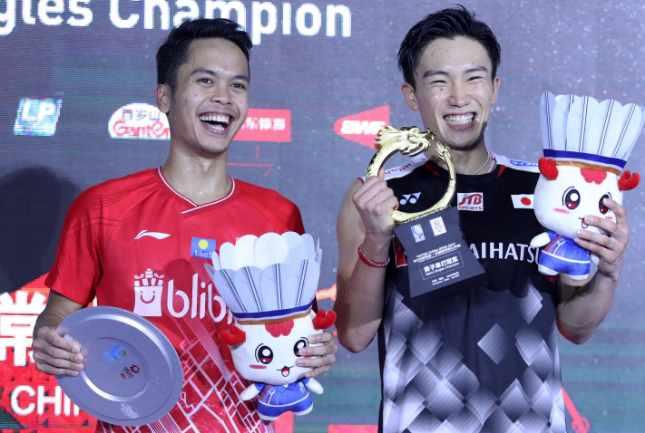 Anthony Ginting dan Kento Momota - Badminton Indonesia