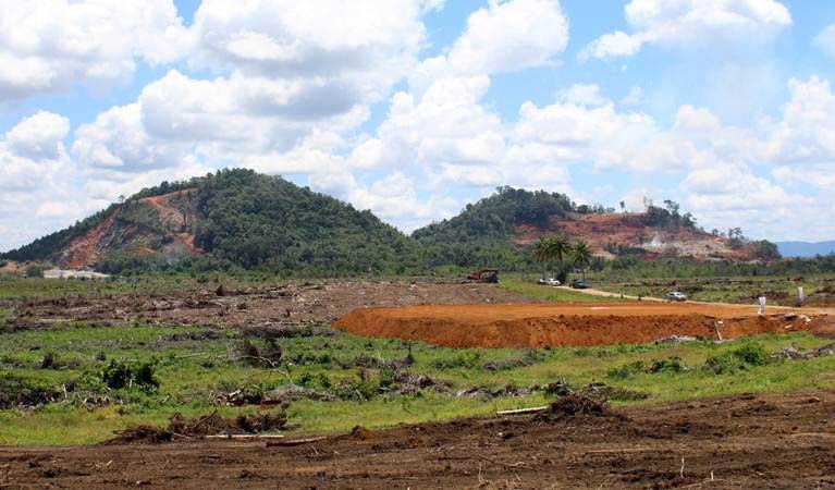 Suasana lokasi yang dicanangkan untuk pembangunan Smelter Grade Alumina Refinery (SGAR) di Desa Bukit Batu, Kabupaten Mempawah, Kalimantan Barat, Kamis (4/4/2019). - ANTARA/Jessica Helena Wuysang
