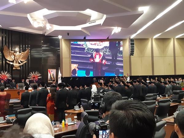 Pelantikan 106 Anggota DPRD DKI Periode 2019-2024, Senin (26/8/2019). - Bisnis/Feni Freycinetia