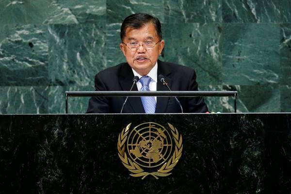 Wakil Presiden Indonesia Jusuf Kalla saat berbicara pada Sidang Umum PBB Ke-73 di New York AS, 27 September 2018. - Reuters