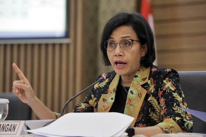 Menteri Keuangan Sri Mulyani memberi paparan dalam konferensi pers APBN Kita di Jakarta, Selasa (19/3/2019). - Bisnis/Felix Jody Kinarwan