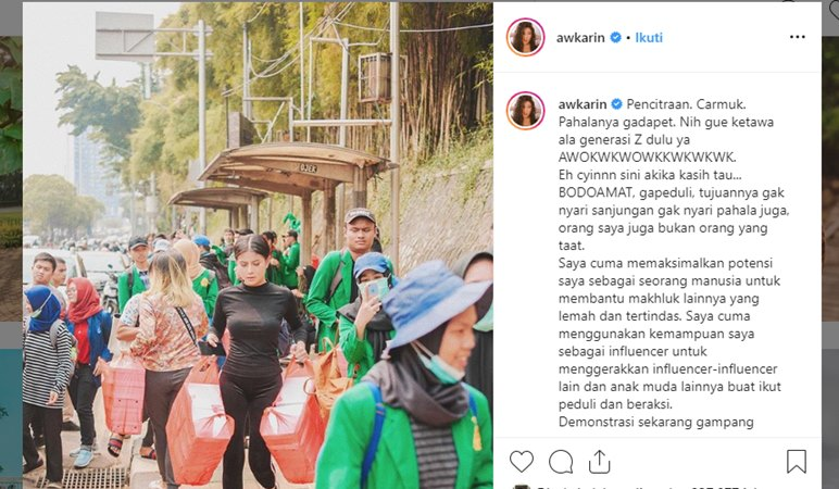 Salah satu postingan dari Karin Novilda lewat akun Instagram awkarin terkait dengan aksi demonstrasi menolak revisi UU KUHP. - Instagram