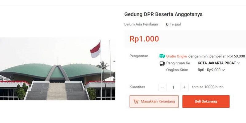 Tangkapan layar meme jual Gedung DPR Beserta Anggota di marketplace Shopee