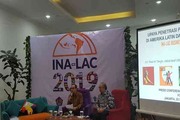 Kementerian Luar Negeri menggelar konferensi pers terkait penyelenggaraan Indonesia-Latin America and the Caribbean (INA-LAC) Business Forum di Jakarta, Rabu (25/9/2019) - Denis Riantiza M