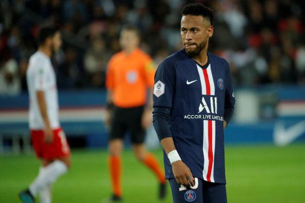 Neymar saat PSG dikalahkan Reims di Paris. - Reuters/Philippe Wojazer