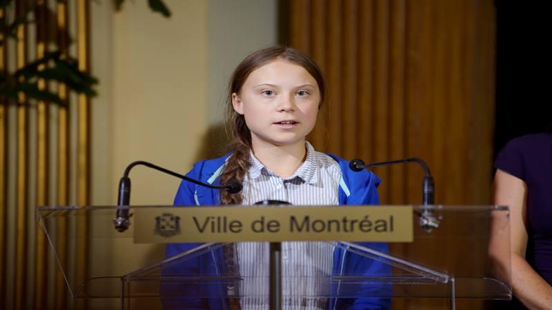 Remaja yang juga aktivis perubahan iklim Greta Thunberg berbicara di Montreal, Quebec, Kanada 27 September 2019.  - Reuters