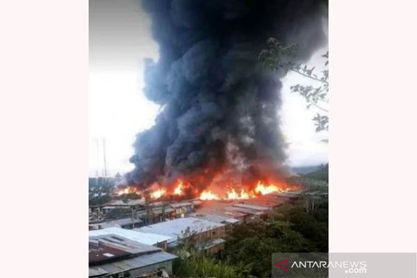 Kebakaran di Oksibil, Kamis (26/9/2019)/ANTARA/HO - istimewa