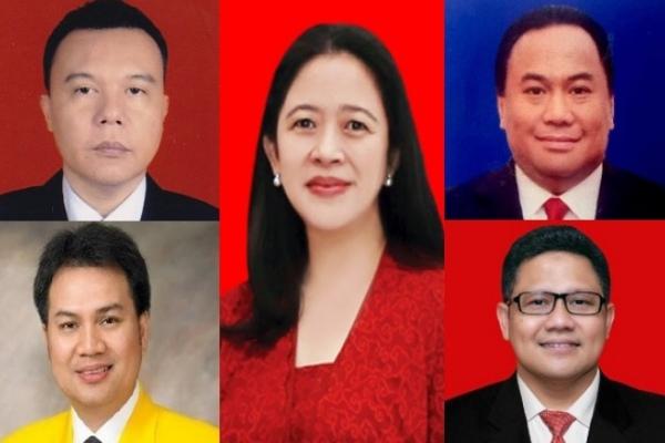 Keterangan foto: Pimpinan baru DPR (berlawanan arah jarum jam) Sufmi Dasco Ahmad, Azis Syamsuddin, Puan Maharani, Muhaimin Iskandar, Rachmad Gobel./KPU - DPR