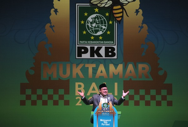 Ketua Umum Partai Kebangkitan Bangsa (PKB) Muhaimin Iskandar berpidato saat penutupan Muktamar PKB 2019 di Nusa Dua, Badung, Bali, Rabu (21/8/2019). - ANTARA FOTO/Fikri Yusuf