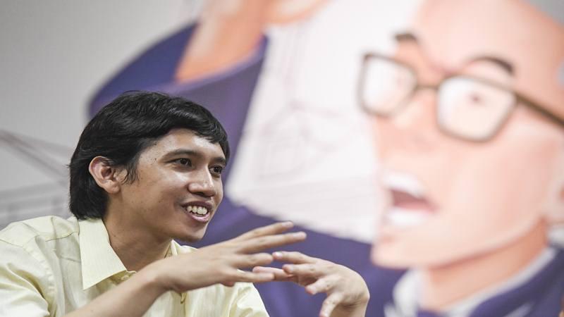 Musisi sekaligus aktivis Ananda Badudu memberikan keterangan pers di Gedung Tempo, Jakarta, Selasa (1/10/2019). Ananda Badudu memberikan keterangan terkait penggalangan dana kemanusiaan untuk aksi mahasiswa di depan Gedung DPR. - Antara