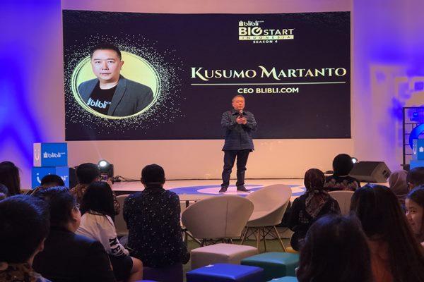 Kusumo Martanto, CEO Blibli.com memberi sambutan dalam acara BBSI Season 4 di Jakarta, Sabtu (5/10 - 3019).