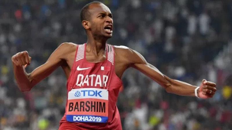 Atlet Qatar Mutaz Essa Barshim juara dunia lompat tinggi. - Antara-AFP