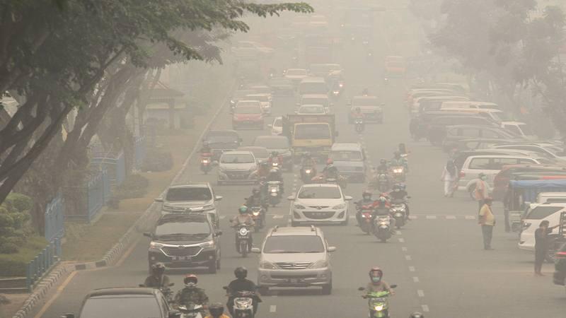Pengendara kendaraan bermotor menembus kabut asap pekat dampak dari kebekaran hutan dan lahan di Pekanbaru, Riau - Antara