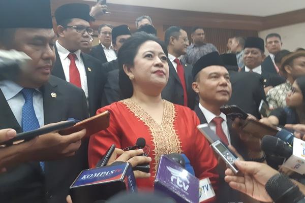 Puan Maharani usai Sidang Paripurna Penetapan sebagai Pimpinan DPR RI periode 2019-2024. - Bisnis/Gloria Fransisca