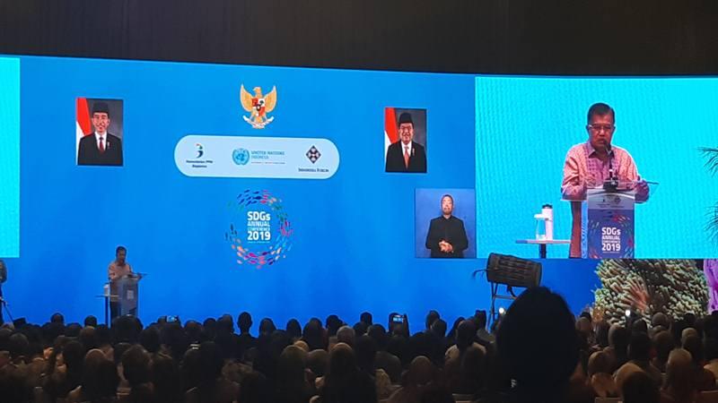 Wakil Presiden Jusuf Kalla menyampaikan pidato kunci pada Konfrensi Keberlanjutan Lautan untuk Meningkatkan Kesejahteraan dan Mengurangi Kesenjangan yang dilakukan oleh Bappenas di Jakarta, Selasa (8/10/2019). JIBI/Bisnis - Anggara Pernando