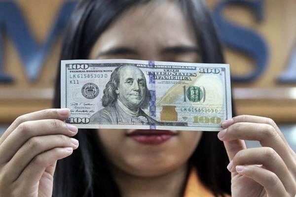 Karyawan memegang mata uang dolar AS di tempat penukaran valuta asing, Jakarta, Kamis (8/11/2017). - JIBI/Felix Jody Kinarwan