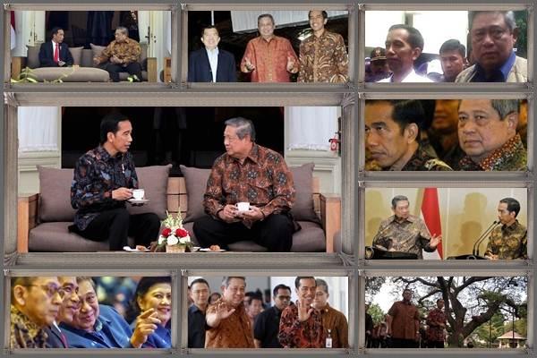 Presiden Joko Widodo (Jokowi) dan Susilo Bambang Yudhoyono dalam sejumlah pertemuan/Antara/Bisnis - Reuters