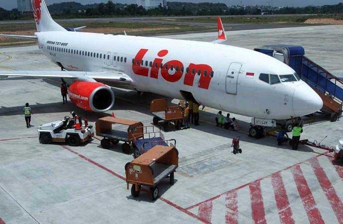 Petugas menjemput bagasi pesawat Lion Air, di Bandara Depati Amir, Pangkalpinang, Bangka Belitung, Sabtu (11/3/2017). - Bisnis/Endang Muchtar