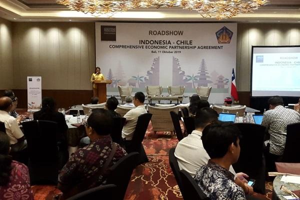 Direktur Perundingan Bilateral Ni Made Ayu Marthini saat memberi sambutan dalam acararoadshow sosialisasi Indonesia- Chile Comprehensive Economic Partnership Agreement (IC-CEPA) dengan tema Potensi Pemanfaatan IC-CEPA