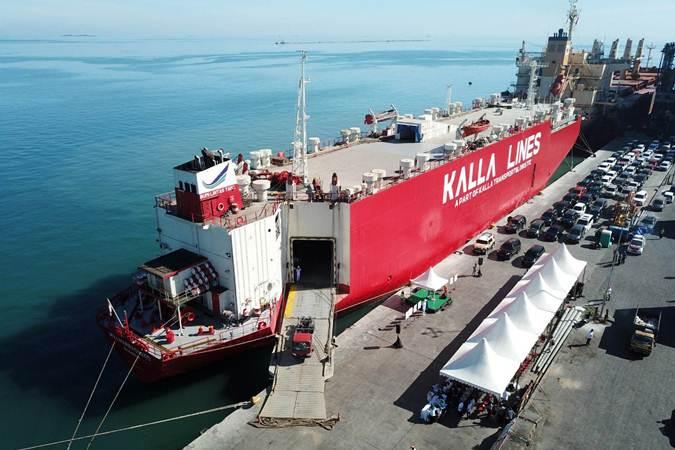 Kapal kargo Kalla Lines bersandar di Pelabuhan Makassar, Sulawesi Selatan, Selasa (23/7/2019). - Bisnis/Paulus Tandi Bone
