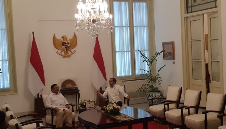 Ketua Umum Partai Gerindra Prabowo Subianto dan Presiden Joko Widodo bertemu di Istana Merdeka, Jumat (11/10/2019). - Istimewa