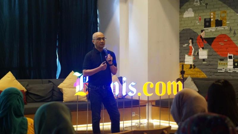 Direktur Tanamduit Muhammad Hanif memberikan materi tentang investasi reksa dana dalam acara Bisnis Community yang diselenggarakan Bisnis.com di Jakarta, Sabtu (12/10/2019). - Bisnis/Agne Yasa