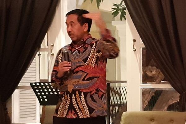 Dirut AP II Muhammad Awaluddin sedang memaparkan persiapan menghadapi Angkutan Lebaran 2019 saat acara buka puasa bersama dengan wartawan, Kamis (16/5/2019). - Bisnis/Rio Sandy Pradana
