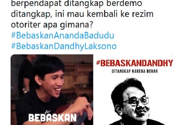 Penangkapan Ananda badudu dan Dhandy Dwi Laksono trending topic di Twitter - Twitter @mriandyzntr