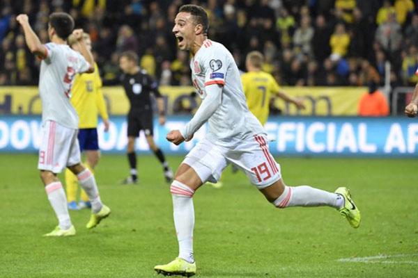 Ujung tombak Timnas Spanyol Rodrigo Moreno setelah men jebol gawang Swedia. - UEFA.com
