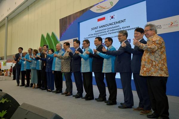 Pengumuman finalisasi perundingan Indonesia-Korea Comprehensive Economic Partnership Agreement (IK-CEPA) di sela pembukaan Trade Expo Indonesia 2019, Rabu (16/10/2019) - dok. Kemendag
