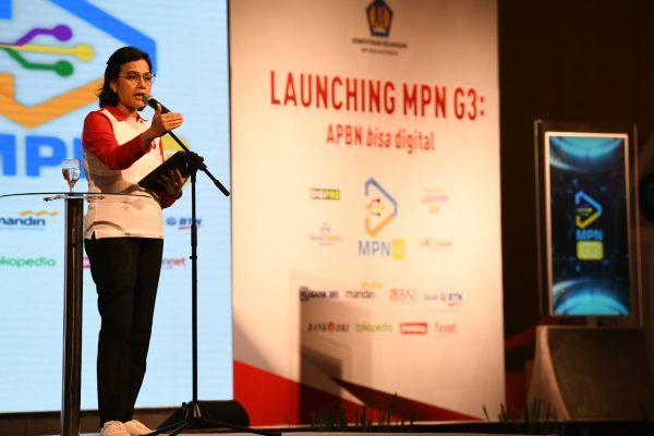 Menteri Keuangan Sri Mulyani Indrawati saat peluncuran MPN G3 dengan mengangkat tema APBN Bisa Digital di Jakarta, Jumat (23/8 - 2019). (Foto: Kemenkeu)
